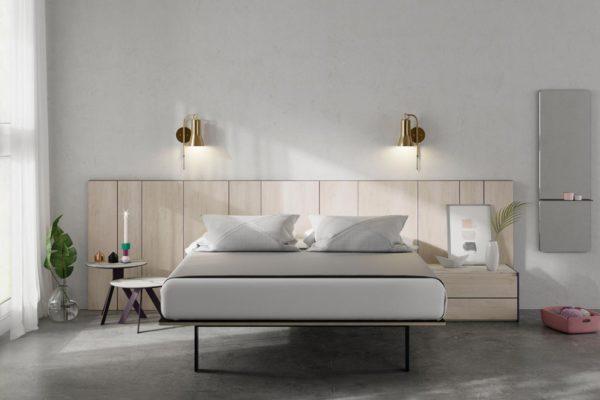 Dormitori amb capçal AX, panells laterals acabat faig i gris volcà