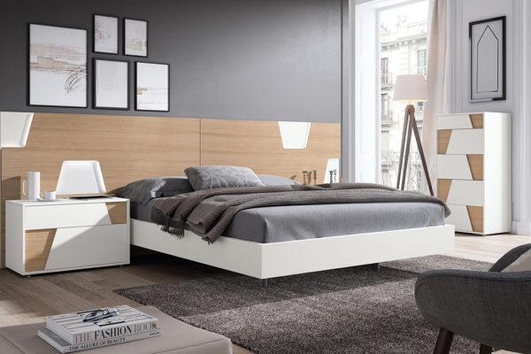 Dormitori amb capçal Urban. Tauleta 2 calaixos, banyera, sinfonier 5 calaixos. Acabat fusta de roure i lacat blanc
