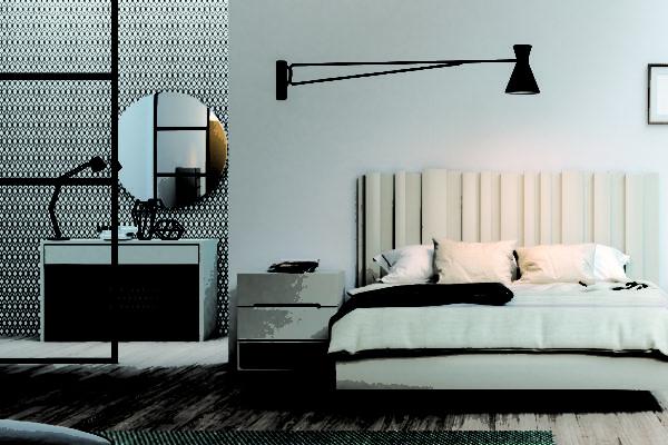 Dormitori amb llit de 150cm x 190cm. Tauletes i aro. Sinfonier 6 calaixos. Escriptori 2 potes. Espill rodó