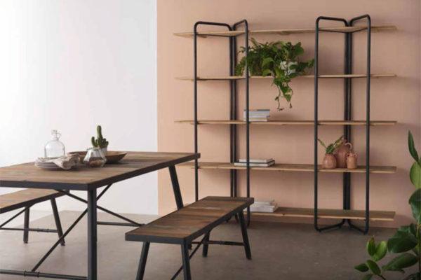 Estantería madera y metal. Mesa de comedor rectangular madera y metal con banco. Estilo industrial.