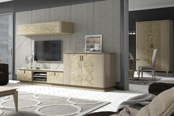 Composición Umbito compuesta de mueble tv. módulo puertas alto y módulo colgado. Acabado laca alto brillo.