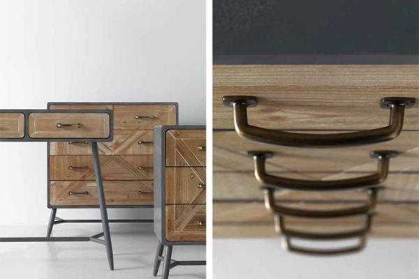 Consola dos cajones madera y metal, cómoda 4 cajones madera y metal. Estilo industrial.