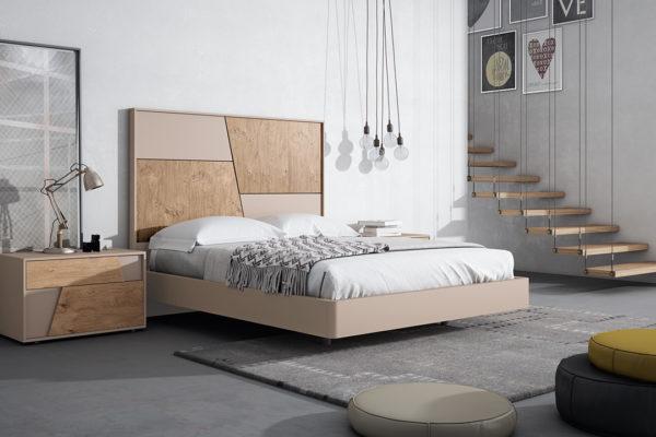 Dormitori capçal Collage curt, banyera i tauleta 2 calaixos. Acabat fusta OAK nucs