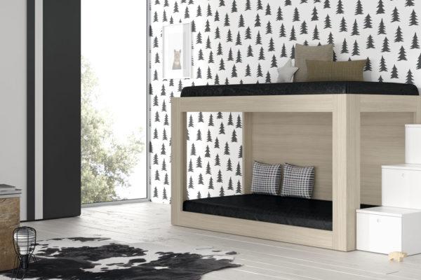 Dormitorio juvenil con litera y escalera  de madera. Acabado blanco y madera.