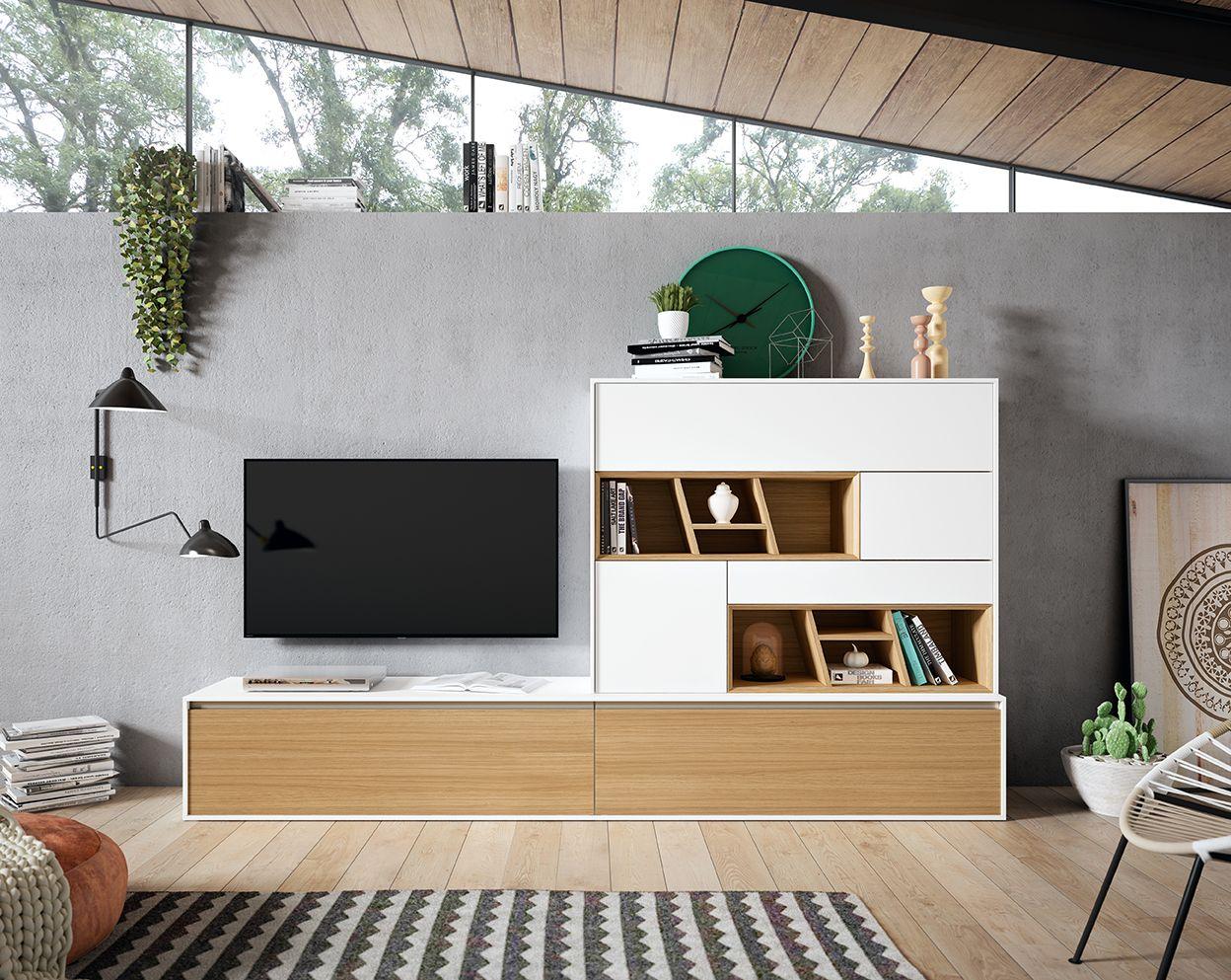 Muebles Lacados Blanco Para Salon.Mueble Para Salon Compuesto Por Bajo Con Cajones Y Alto Para