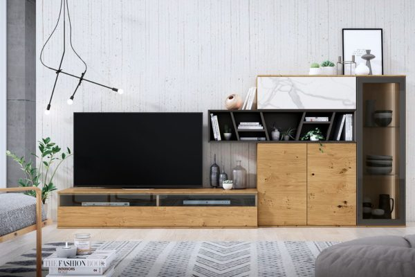 Moble de saló modern compost per mòdul baix TV, moble vitrina, moble contenidor i moble apilable. Acabat en fusta nucs i lacat pissarra.