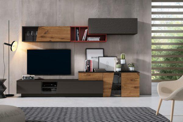 Mueble moderno  para salón compuesto por bajo para televisión, bajo puerta cristal y módulos superiores colgados a pared.