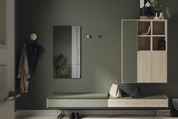 Mueble recibidor con espejo rectangular, cajones para almacenar y espacio para sentarse.