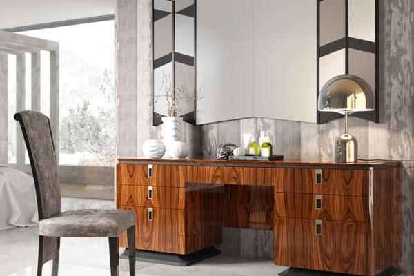 Mueble tocador con doble cajonera. Acabado madera noble.