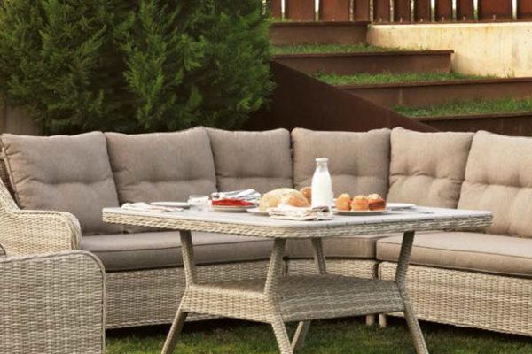 Raconera de sofàs per exterior amb fibra sintètica en color blanc